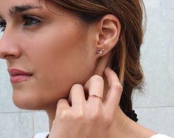 Elegant leaves earrings -nature earrings - rose gold earrings - wedding earrings - leaves earrings - ear climber, leaf earring