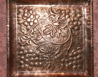 Arts and Crafts copper tray with grape and vine pattern