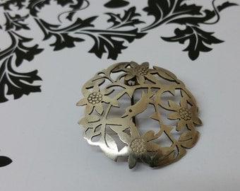 Silver brooch bird shabby vintage old SB163