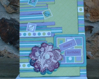 Purple and Lime Green Birthday Card