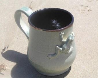 Green frog mug - stoneware mug - coffee mug - pottery mug - ceramic mug