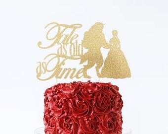 Beauty and the Beast Cake Topper, Tale As Old as Time Cake Topper, Beauty and the Beast Wedding Topper, Beauty and the Beast Engagement