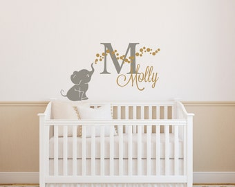 Elephant Wall Decal,Elephant and Bubbles Wall Decal, Elephant Nursery Wall Decal, Elephant Decal Sticker