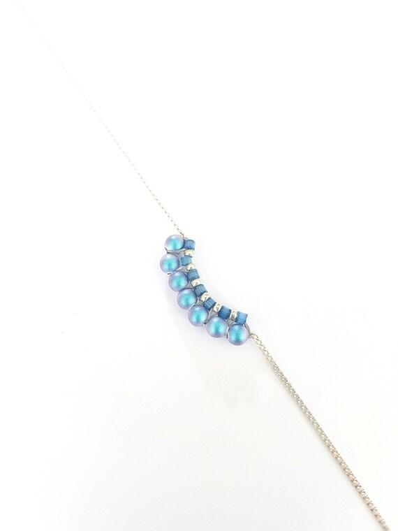 Iridescent blue pearl bracelet