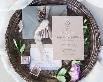 Elegant Monogram Invitation, Vellum Invitation, Classy Invitation, Monogram Invitation, Elegant Invitation Suite, Vellum Invite  - DEPOSIT