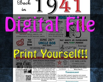 1941 Personalized Birthday Poster, 1946 History - DIGITAL FILE!!