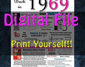 1969 Personalized Birthday Poster, 1969 History - DIGITAL FILE!!