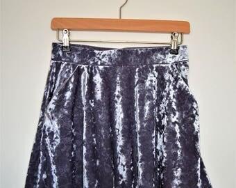"Ladies Silver 90's mini skirt UK size 8/10 - Waist 26"""