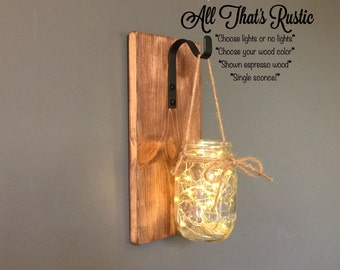 Single Mason Jar Sconce, Lighted Mason Jar Sconce, Hanging Mason Jar Sconce, Rustic Home Decor, Mason Jar Decor, Housewarming Gift, Sconce