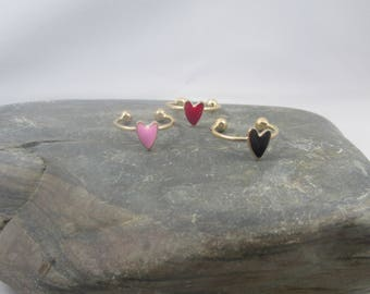 Heart Ring, Red Heart Ring, Pink Heart Ring, Black Heart Ring, Gold Adjustable Heart Ring, Romantic Ring, Friendship Gift, Wife Gift