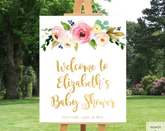 Baby Shower Decorations For Girl, Baby Shower Banner, Girl Baby Shower Decoration, Baby Shower Sign, Floral Baby Shower, Download, Printable