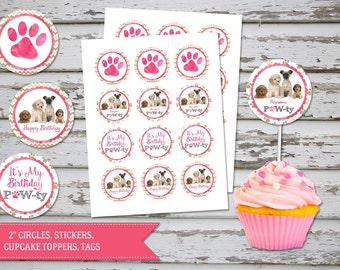 Puppies Cupcake Toppers, Dogs Birthday, Pawty Puppies Toppers, Dogs Puppies Favour Tags, DIY, INSTANT DOWNLOAD