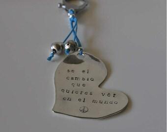 Heart Engraved Change Keychain