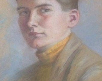 Original Pastel Portrait Painting Of A Boy / Young Man - Early 20th Century