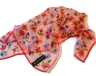 Echo Silk Scarf, Square Scarf, Ascot, Floral Scarf, Spring Scarf, Pink