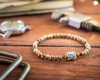 4mm - Brown jasper beaded stretchy bracelet with silver Buddha, mens beaded bracelet, mens bracelet, gemstone bracelet