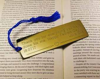Fathers day gift,engraved fathers day present,fathers day bookmark,fathers day card,gift for dad,custom dad gift,bookmark for dad