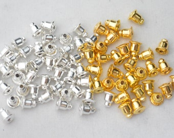 50 Pcs (25 Pairs) Earring Backs Gold Plated/ Bright Silver Plated Ear Nuts-Bullet Earring Backs-6mmx5mm