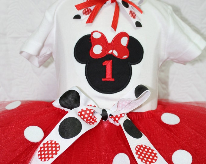 1st birthday,Girl first birthday outfit,Disney birthday, Minnie Mouse inspired birthday shirt, Red and white polka dot tutu, Minnie headband