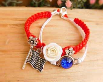 Charm bracelet USA flag jewelry jewelry 4th of July Patriotic jewelry Red bracelet Flower bracelet American bracelet Summer jewelry