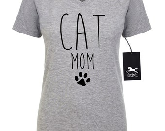 Cat Mom | Cat T Shirt | Feline | Cat Shirt | Women's Fitted V-Neck Tee | Fashion Fit | Soft |