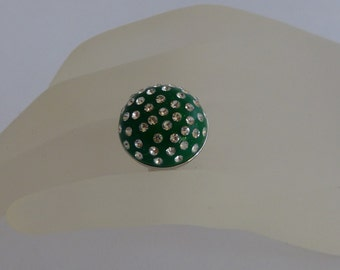 Ring emerald green polymer clay with chatons