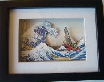 Legend of Zelda Great Wave Off Kanagawa 3D Shadow Box Diorama Art  Arcade  Nintendo