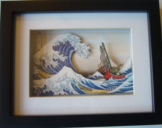 Legend Of Zelda Great Wave Off Kanagawa 3d Shadow Box Diorama