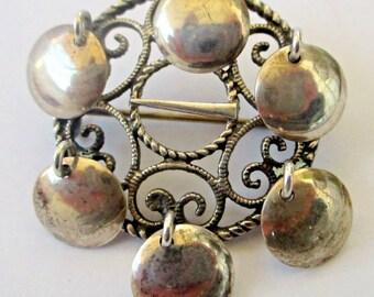 Vintage Elvik & Co. 830 Silver Solje Dangle Pin Wedding Brooch Norway Sterling Discs Shield