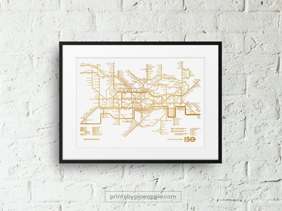 London Underground Map - Gold Foil Print - Gold Print, Gold Illustration, Gold Foil Art - Prints by Pineapple - GP249