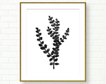 Botanical Prints, Poster, Black And White, PRINTABLE, INSTANT DOWNLOAD, Watercolor, Hand Painted, Natural History, Wall Decor, Leaves, Tree