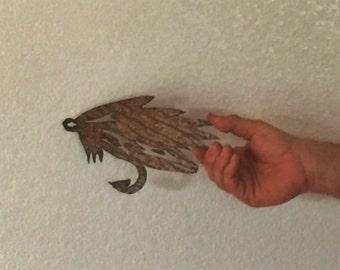 Fly fishing Metal Wall Art.   metal fishing fly wall art made from steel, Handcrafted, handmade, metal artwork, metal wall art