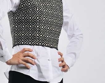 Abstract geo print tight  crop top