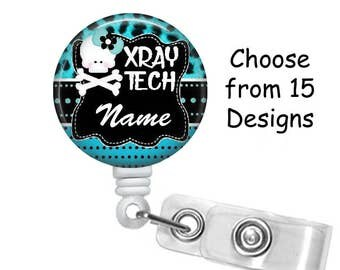 X-Ray Tech Badge Reel Personalized Name (15 Choices), ID Badge Holder, Medical Badge Reel, Radiology, Skeleton, Belt or Alligator clip, Hand