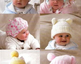 King Cole Knitting Pattern 3391~Six Adorable Hats~Chunky~0-5yrs