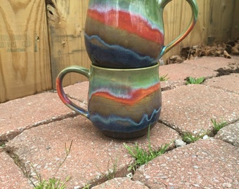 Wheel Thrown Couple Cups Drippy Colorful
