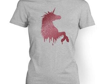Pink Glitter Unicorn women's t-shirt