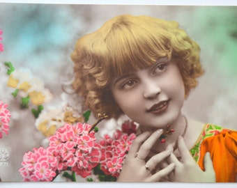 French Postcard Real Photo Young Child Hand Tinted RPPC Girl Flowers Glamour Post Card