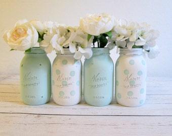 Mint Green Mason Jar Set - Polka Dot Mason Jars - Baby Shower Centerpieces - Party Decor - Mason Jars Bulk - Mason Jar Decor - Mason Jar