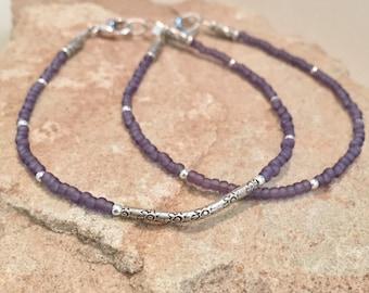 Purple seed bead bracelets, Hill Tribe silver curved tube bead, noodle bracelet, small bracelet, boho bracelet, gift for her, gift for wife