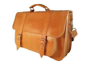 Leather Bag - Professional Leather Messenger Bag, Full Grain Leather Briefcase - 17 inch Laptop Bag. 4 COLORS AVAILABLE!