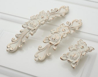 Shabby Chic Dresser Pulls Handles  Drawer Knobs White Gold Silver / French Country Kitchen Cabinet Handle Pull Antique Furniture Hardware