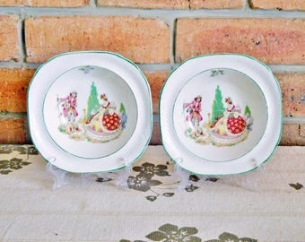 Swinnertons England Hampton Ivory 'Lilac Time' 1920s Art Deco soup or dessert dishes