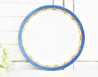 "Vintage Silesia Salad Plate 8.5"": Vintage Decorative Plate, Blue Gold Plate, Hand Painted Plate, Antique Plate, Blue Plate, Pretty Plate"