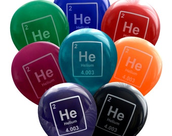 Helium Periodic Table Element Nerdy Balloons - Pack of 8  | Geeky Birthday Party Decorations | Student Professor Teacher Scientist, Chemist