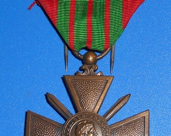 WW2, French Military Medal; War Cross, 1939, 1stars 1 citations, Decoration military.