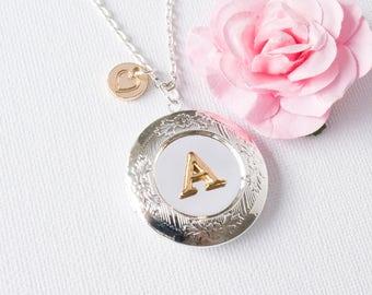 Silver initial locket, Locket necklace, keepsake, Silver locket, Silver round necklace, keepsake gift, keepsake, Birthday gift, SPIIRL1