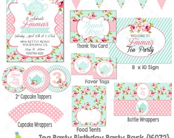 Tea Party Birthday Printable Party Package | Tea Party Birthday Package | Tea Party| Printable Party Pack |  Design 16072