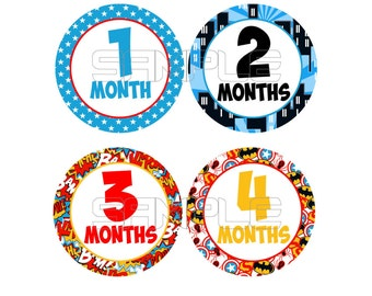 Baby Monthly Onesie Stickers, Superhero Onesie Stickers, Monthly Baby Stickers, Comic monthly onesie