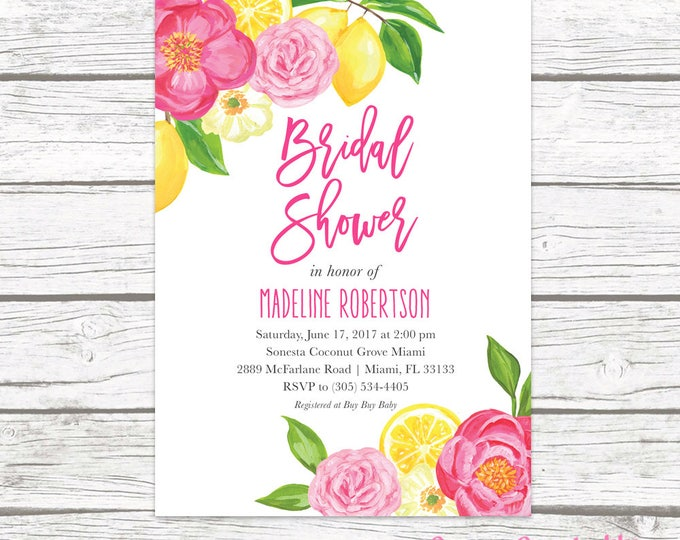 Bridal Shower Invitation, Lemon Bridal Shower Invitation, Garden Bridal Shower Invitation, Bridal Shower Invite, Floral Printable Invite